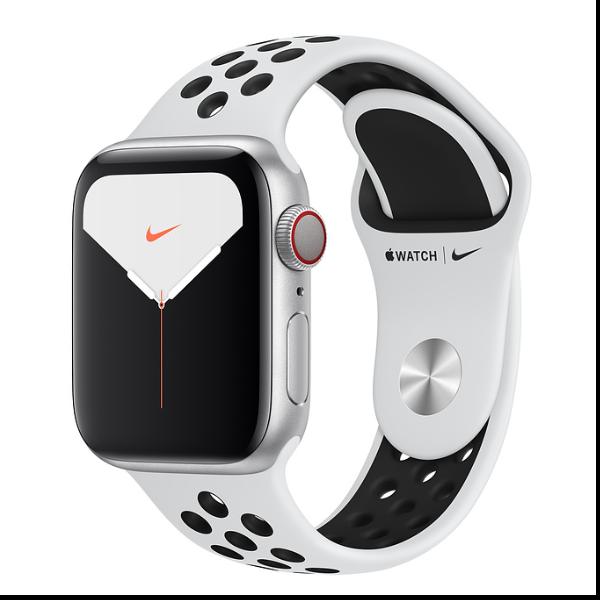 Apple Watch Nike Series 5 (GPS + Cellular) - aluminio plateado - reloj inteligente con pulsera deportiva Nike - platino puro/negro - 32 GB - sin espec