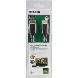 BELKIN CABLE HDMI M/M 2M H SPEED WHT GOLD