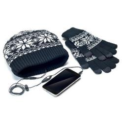 CELLY KIT GORRO AURICULARES GUANTES NEGRO