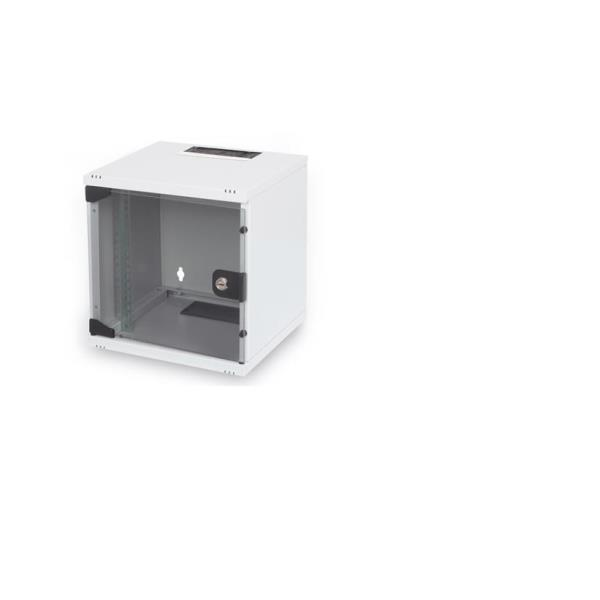254 mm 10  Wall Mounting Cabinet  6U H330xW312xD300 mm  color grey (RAL 7035) glass door