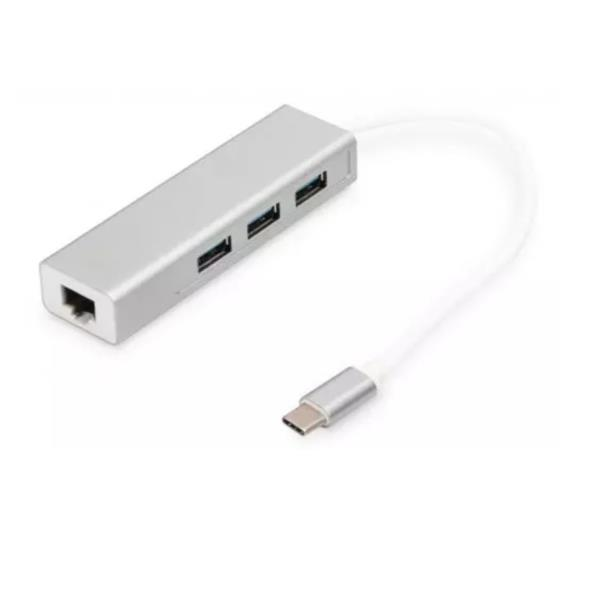 3 Port USB 3.0 Type-C Hub with Gigabit Ethernet 3 USB A/H  1 USB A/M  1 RJ45 LAN Compatible con Windows y Mac OS