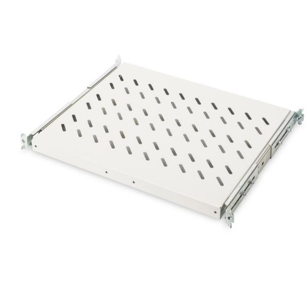 1U extendible shelf for 600 mm depth racks 40x485x368 mm  up to 25 kg  black (RAL 9005)