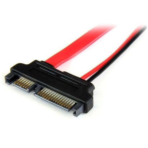 StarTech.com Adaptador Cable SATA 15cm Slimline Línea Delgada a SATA con Alimentación Corriente - Hembra a Macho - Adaptador SATA