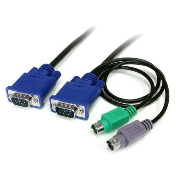 StarTech.com Cable KVM de 1,8m Ultra Delgado Todo en Uno VGA PS/2 PS2 HD15 - 6ft Pies  3 en 1 - cable de teclado / vídeo / ratón (KVM) - 1.8 m