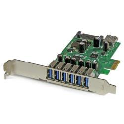 StarTech.com Adaptador tarjeta PCI Express 7 puertos USB 3.0 con alimentación SATA perfil bajo o completo - 7x USB A - Hub Interno - adaptador USB