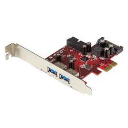 StarTech.com Adaptador tarjeta PCI Express 2 puertos USB 3.0 externos 1 internos con Alimentación SATA - 4x USB A - Hub Interno - adaptador USB