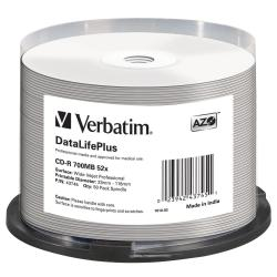 VERBATIM CD-R 50PK SPINDLE AZO WIDE INKJET