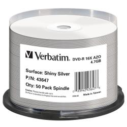 VERBATIM DVD-R 16X ADVANCED AZO SHINY SILVER