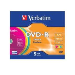 DVD-R 4.7 16X SLIM 5 COLOR VERBATIM