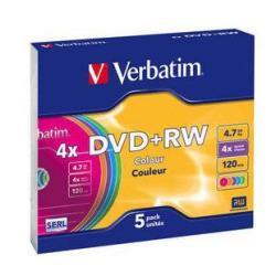 Verbatim Colours - DVD+RW x 5 - 4.7 GB - soportes de almacenamiento